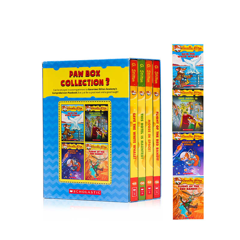 4 Books Geronimo Stilton Paw Box Set 3 Humor Adventure Explore Brave Comic Fiction Parent Child Kids Story English Picture Book