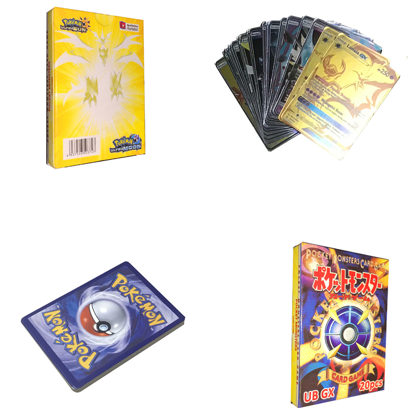 20pcs GX Animals Non Repeat Shining Cards Game Battle Carte Trading Children Pokemon Card Toy