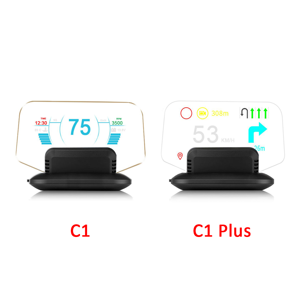 Newest Head Up Display OBD2 Car HUD Mirror Display C1 OBD2 GPS Dual Mode GPS Speedometer Overspeed Warning Optional Navigation