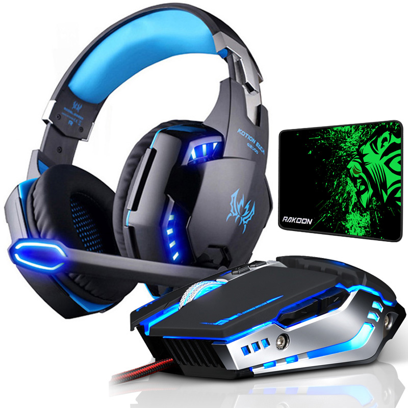 Gaming Headset Tiefe <font><b>Bass</b></font> Stereo Spiel Kopfhörer mit Mikrofon LED Licht für PS4 PC Laptop + Gaming Maus LED Licht + mäuse Pad image