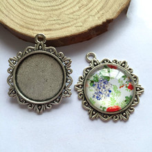 5pcs/lot 25mm Necklace Pendant Setting Antique Bronze Silver Glass Cabochon Blank Base Supplies for Jewelry Finding