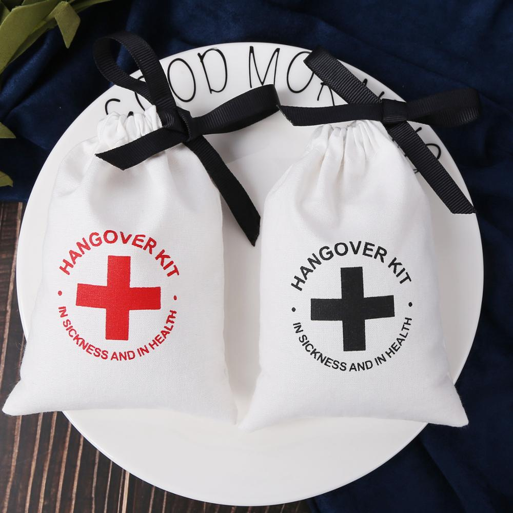 White Cotton  Jewelry Drawstring Bags With Ribbon Chic Gift Travel Wedding Hangover Kit  First Aid Pouches