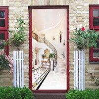 יוקרה מדרגות דלת קיר DIY ויניל קליפת מקל טפט בית עיצוב חדר שינה חדר אמבטיה דקורטיבי קיר מדבקות מדבקת porte