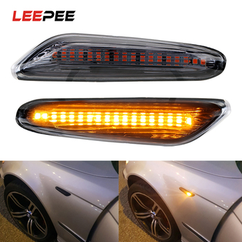 LEEPEE Car LED Side Marker Light Indicator Turn Signal Lights For BMW E90 E91 E92 E60 E87 E82 E61 Error Free Auto Lamp DC 12V image
