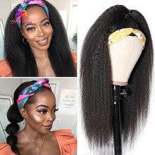 30-дюймовый парик с головной повязкой парики из натуральных волос на кружевной основе 180 плотности парик человеческих волос парики для черно...