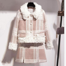 Fall Winter Casual Sweet Two Piece Set Women Lambswool Patchwork Tweed Plaid Coats Mini Wrap Skirt Woolen 2