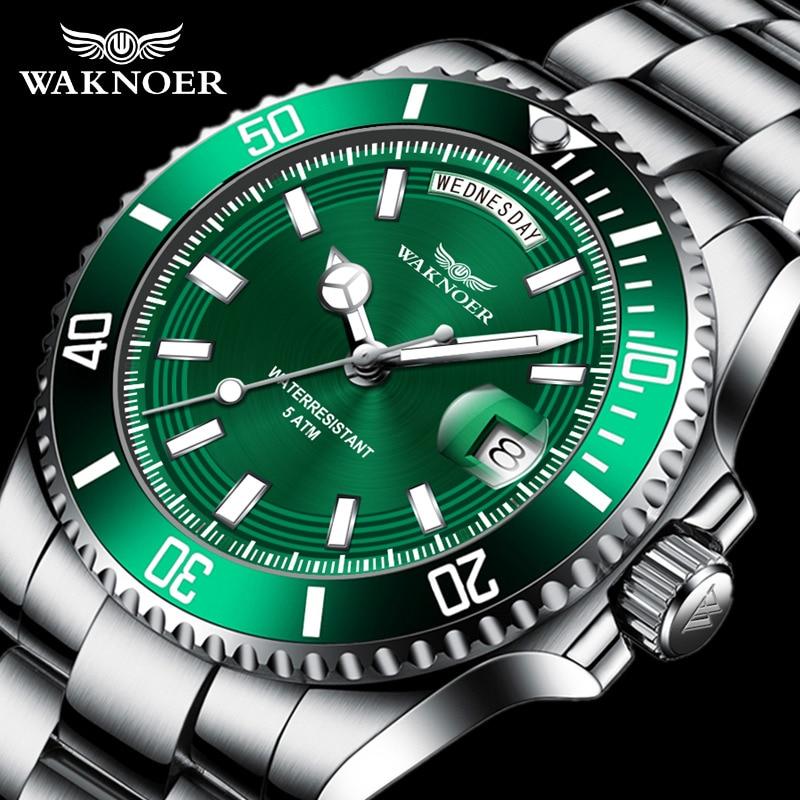 Waknoer Luxury Automatic Watch Men Mechanical Watches Classic Stainless Waterproof Luminous Calendar Auto Date Wristwatch Male
