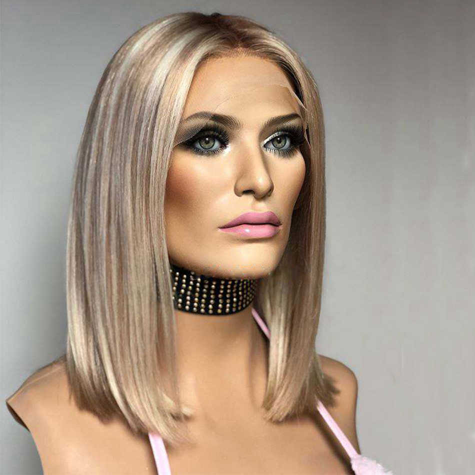Bob Blonde 150 Dichtheid Maagd Menselijk Haar 13X6 Lace Front Pruiken Voor Vrouwen Transparante Zijden Top Lace Front blonde Hoogtepunt Pruiken