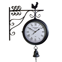 Wrought iron mute compound clock European retro, craft double-sided wall antique 00 y