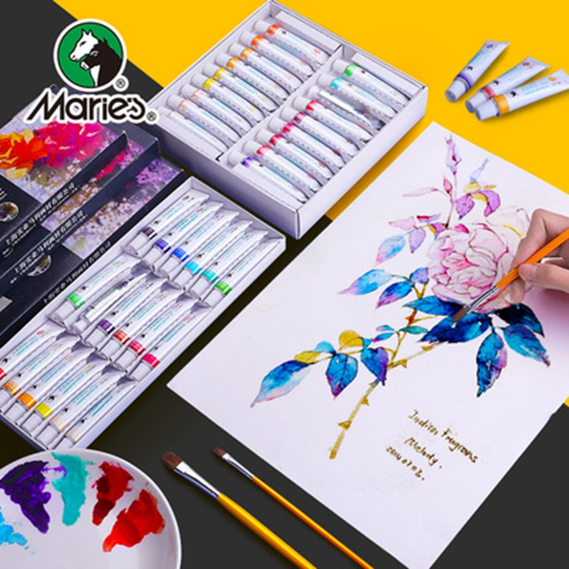 Marie's Art Watercolor Gouache Paint Set 12/18/24/36 Colors 5ML/12ML Tube Painting Pigment Strong Coverage For Children Students
