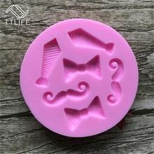 TTLIFE 6 Holes Tiny Bow Tie Mustache Silicone Mold Fondant Cake Sugarcraft Decorating DIY Tools Gum Paste Chocolate Craft Mould цена