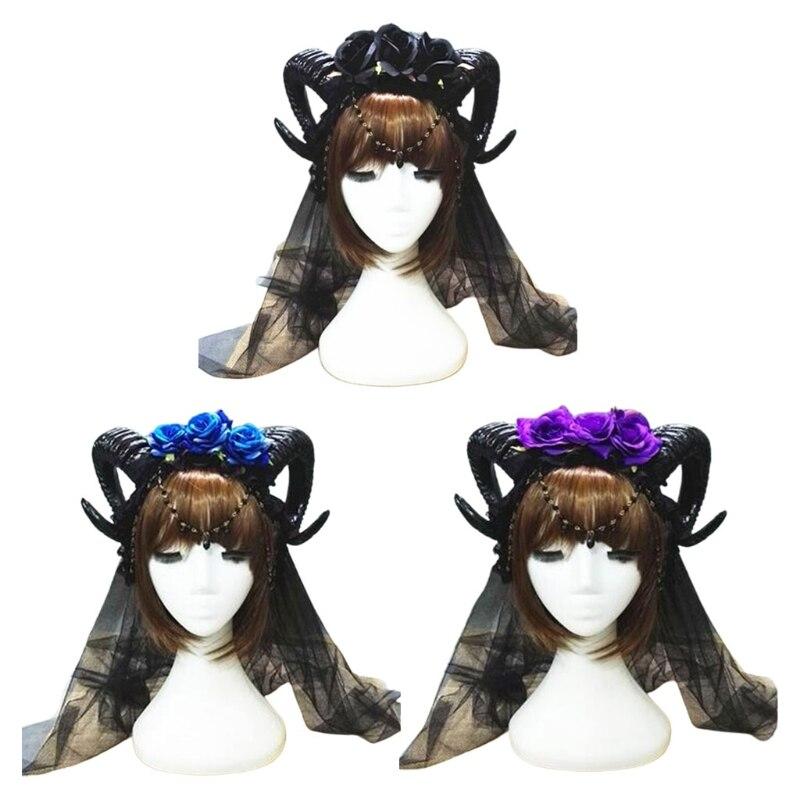 Halloween carnaval Lolita bandeau corne de mouton Rose fleur chaîne couronne cheveux cerceau Vampire démon maille voile gothique casque