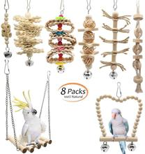 8 Pçs/set Pássaro Papagaio Balançar Mastigar Brinquedos com Atualizado Criativo Sino Pendurado Rede Gaiola de Pássaro Brinquedos De Madeira Natural