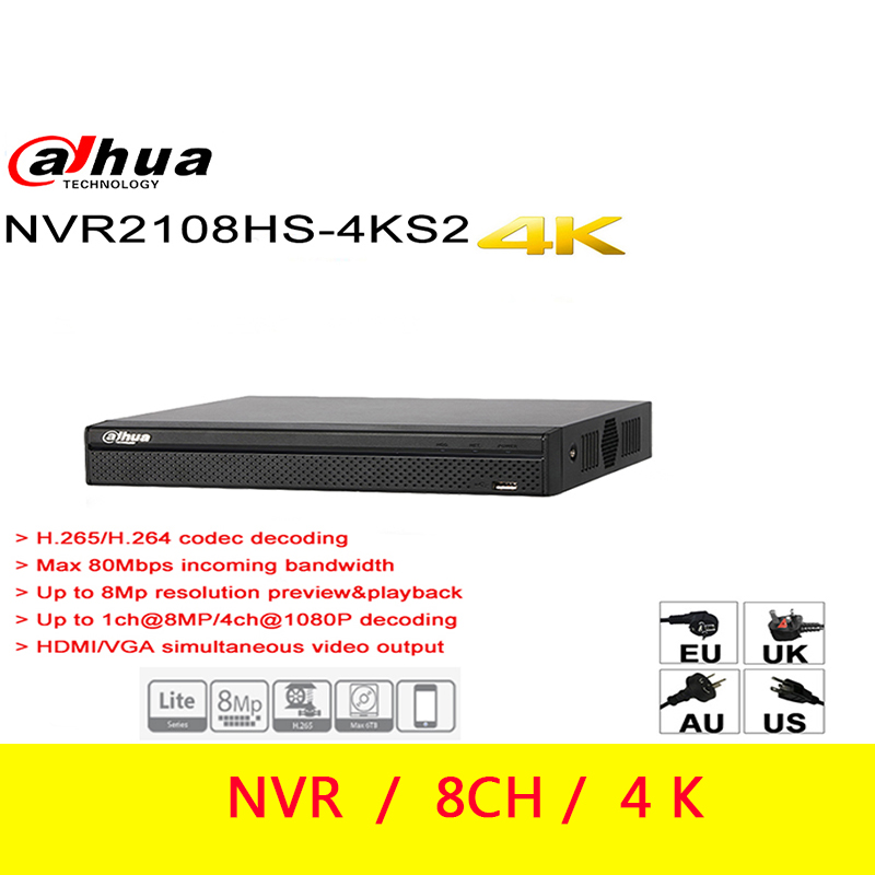 Dahua NVR  8CH 4K H.265 NVR2108HS 4KS2 8CH Up To 8MP resolution preview Max 80Mbps incoming bandwidth-in Surveillance Video Recorder from Security & Protection