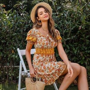 Image 2 - Simplee Blackless floral print dress Summer high waist puff sleeve ruffled boho dress Streetwear ladies ruched a line mini dress