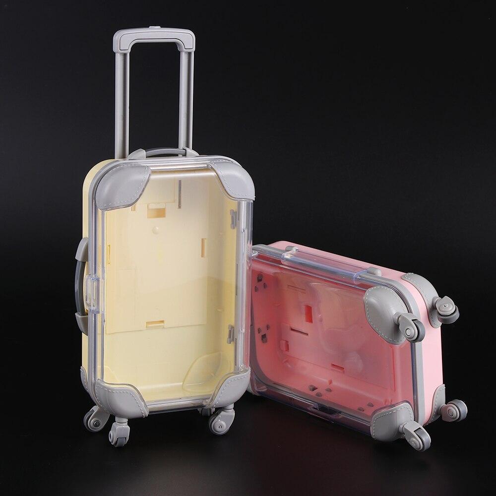 Mini trole bagagem para embalagem boneca jóias pequenas roupas linda mala de bonecas decoração plástico brinquedo em miniatura tronco