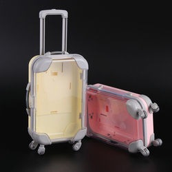 Mini Trolley Luggage for Packing Doll Jewelry Small Clothes Lovely Suitcase Dollhouse Decoration Plastic Miniature Toy Trunk