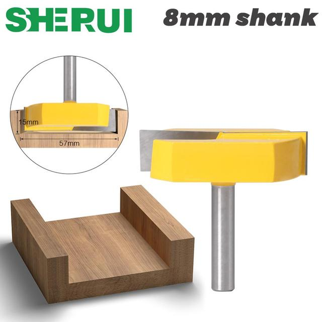 1PC 8mm shank Cleaning Bottom Router Bits with 8mm Shank,2 3/16 Cutting Diameter for Surface Planing Router Bit