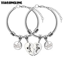 XIAOJINGLING 2pcs Broken Heart Bracelets & Bangles Stainless Steel Pendant Bracelet no matter where Friendship Sisters Jewelry(China)