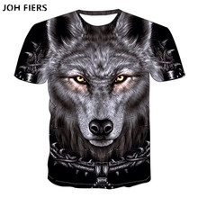 JOH FIERS  2019 Newest Harajuku Wolf 3D Print Cool T-shirt Men/Women Summer Tops Tees T shirt Fashion t shirts S- 6XL