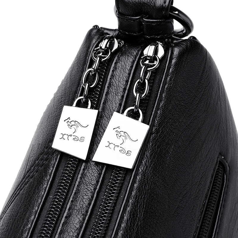 Новинка Vinttage кожаные сумки через плечо сумки для женщин 2019 женская дизайнерская Роскошная Большая вместительная сумка на плечо двойная сумка на молнии