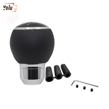 YOLU 5 Speed Aluminum Leather Car Manual Shift Knob Shifter Round Ball Black Gear Hand Cover Lever Knobs