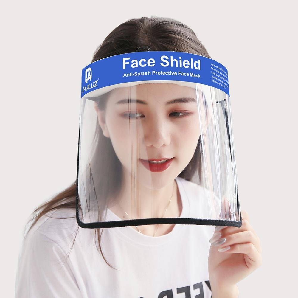 PULUZ Anti-Saliva Splash Anti-Spitting Anti-Fog Anti-Oil Protective Face Shield Transparent Flip Up Elastic Band Full Face Cover