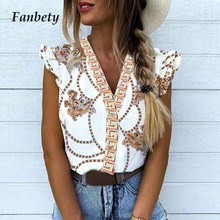 Fanbety Women Elegant Vacation Leisure blouse Top Female Gir
