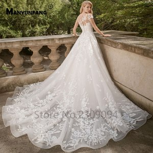 Image 2 - Винтажные кружевные свадебные платья размера плюс с рукавами крылышками и аппликациями, элегантные свадебные платья, кружевные пушистые Бальные платья, 2020