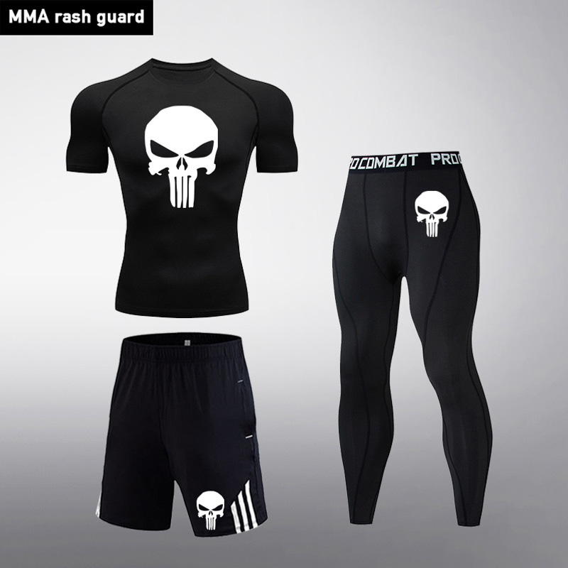 Compression Track Suit Men Sportswear Fitness MMA Clothing Tactical Leggings Rashguard Kit Crossfit T-Shirt Tights Jogging Set