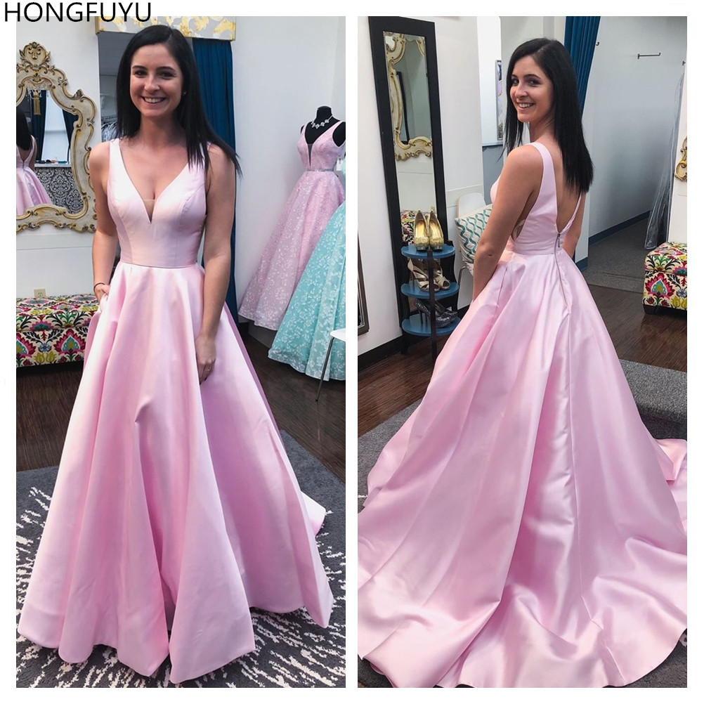 HONGFUYU Elegant V Neck Prom Party Gowns Evening Dresses With Pockets 2020 Long Robe De Soiree Formal Dresses Woman Party Night