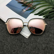 Frauen Polarisierte Sonnenbrille Rosa Spiegel Übergroßen Sonnenbrille für Frau Polygon Shades Fashion Marke Designer Anti Reflektieren UV400(China)