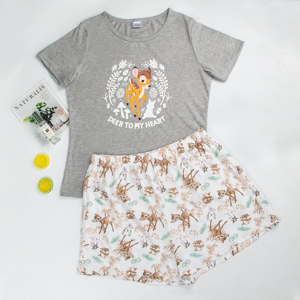 Women Pajamas Cute Pajamas For Women 100%Cotton Womens Short Sleeve Pajamas Sleepwear Cartoon Pajama Set Cotton Pyjamas