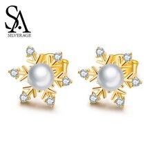 SA SILVERAGE Snowflake Stud Earring Woman Earrings Zirconia Romantic S925 Zircon Snow Female Sterling Silver Popular