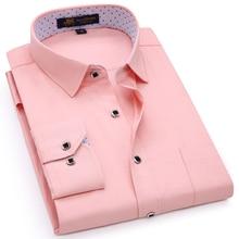남성용 레귤러 피트 롱 슬리브 솔리드 리넨 셔츠 싱글 패치 포켓 스퀘어 칼라 내부 폴카 도트 캐주얼 버튼 업 얇은 셔츠