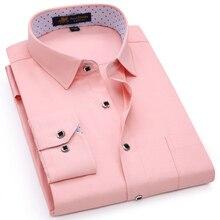 Camisa de lino de color liso para hombre, camisa de manga larga de corte Regular, cuello cuadrado de bolsillo tipo parche, camisas finas informales con botones