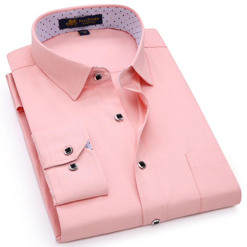 Men's Regular-fit Long Sleeve Solid Linen Shirt Single Patch Pocket Square Collar Inner Polka Dot Casual Button-up Thin Shirts
