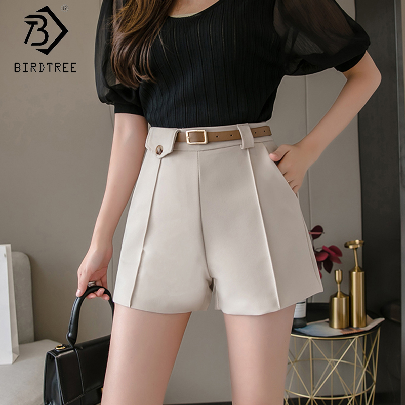 2020 Spring And Summer New Women's Office Lady Shorts With Sashes Fashion High Waist Wide Leg Shorts Female Bottoms B01401O
