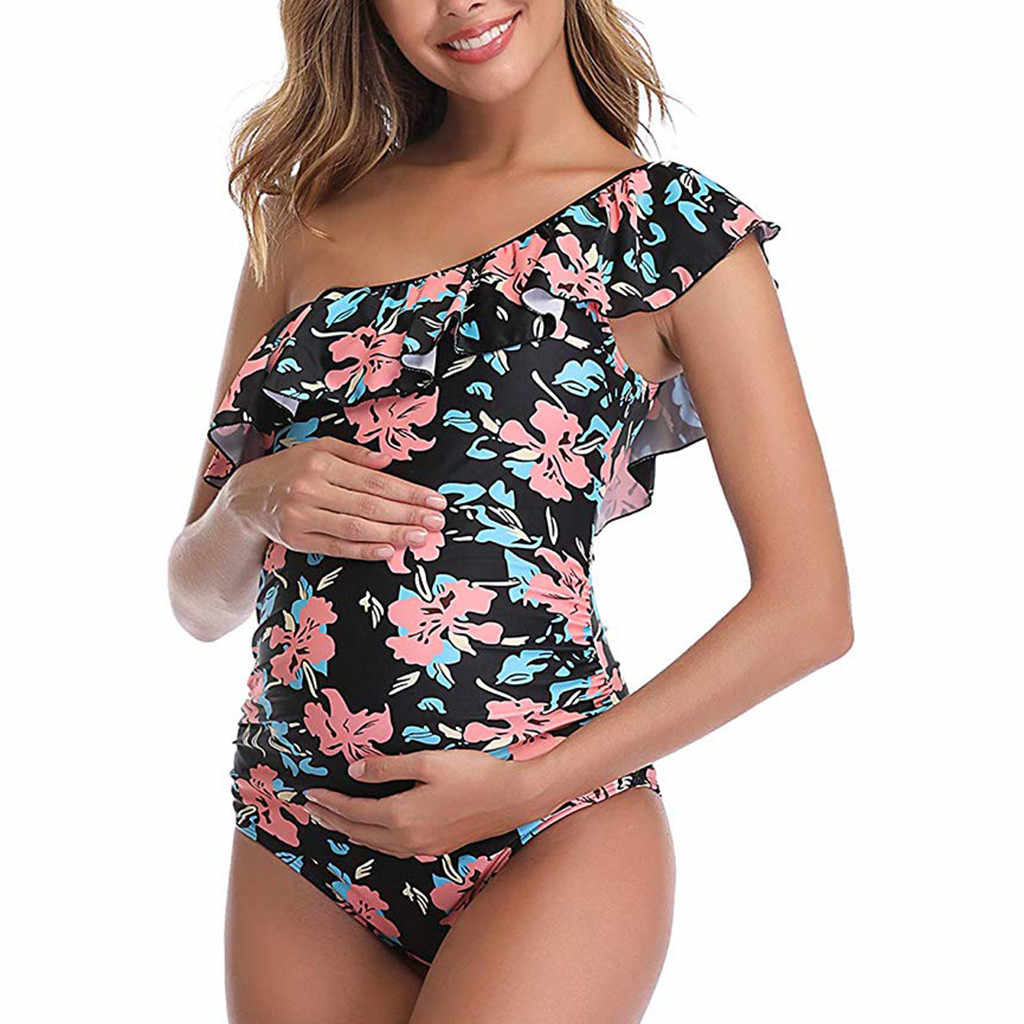 สตรีคลอดบุตรชุดว่ายน้ำ One Shoulder Flounce One Piece ชุดว่ายน้ำหญิงชุดว่ายน้ำ Beachwear ตั้งครรภ์บิกินี่ M140 #