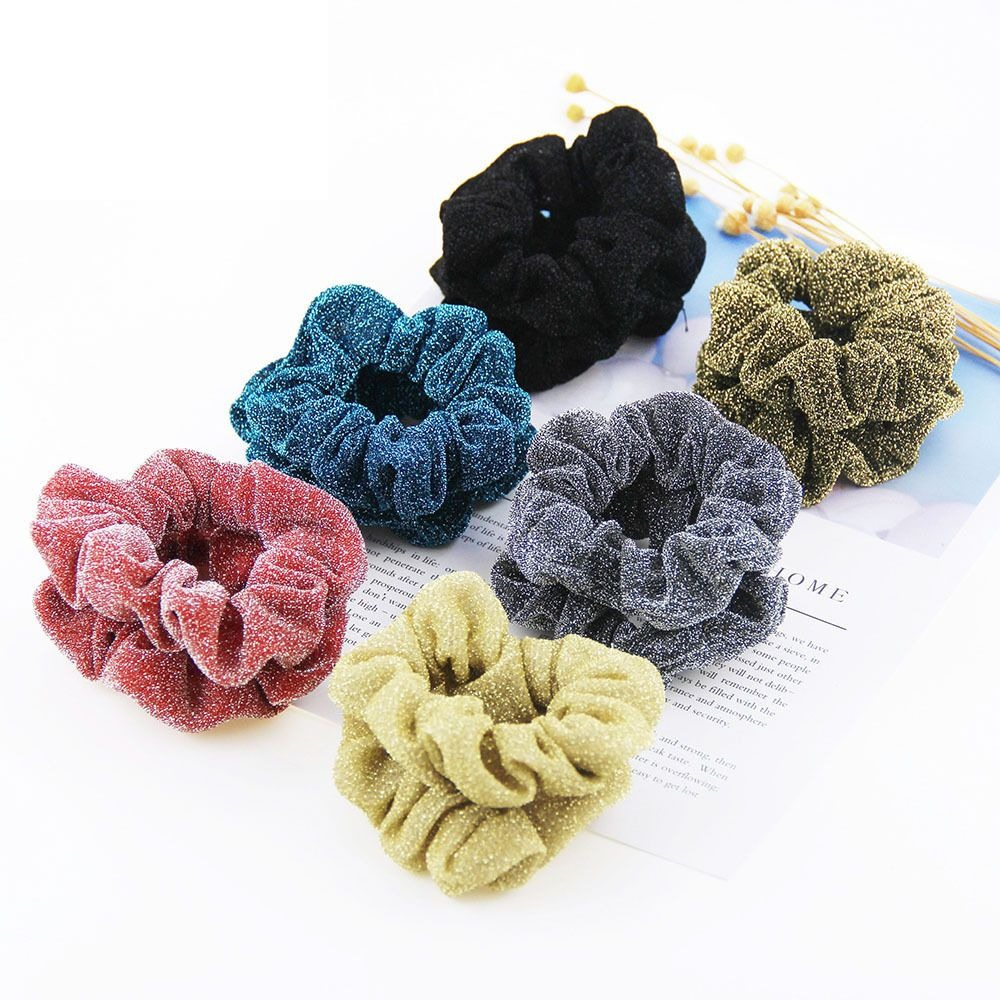 1PC Korean Glitter Hair Scrunchies Hair Rope For Women Girls Ponytail Holders Rubber Band Elastic Hairband Hair Accessories