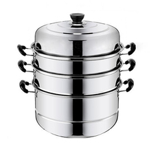 Steamer Pot Cooker Boiler Stainless-Steel Soup-Pot Kitchen for 4-Layer Induction Thicken