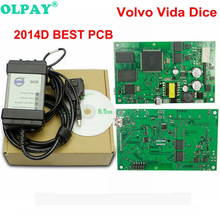 цены For Volvo Vida Dice Full Chip 2014D OBD2 Professional Diagnostic-Tool For Volvo Dice Pro Green Board Multi-Language free