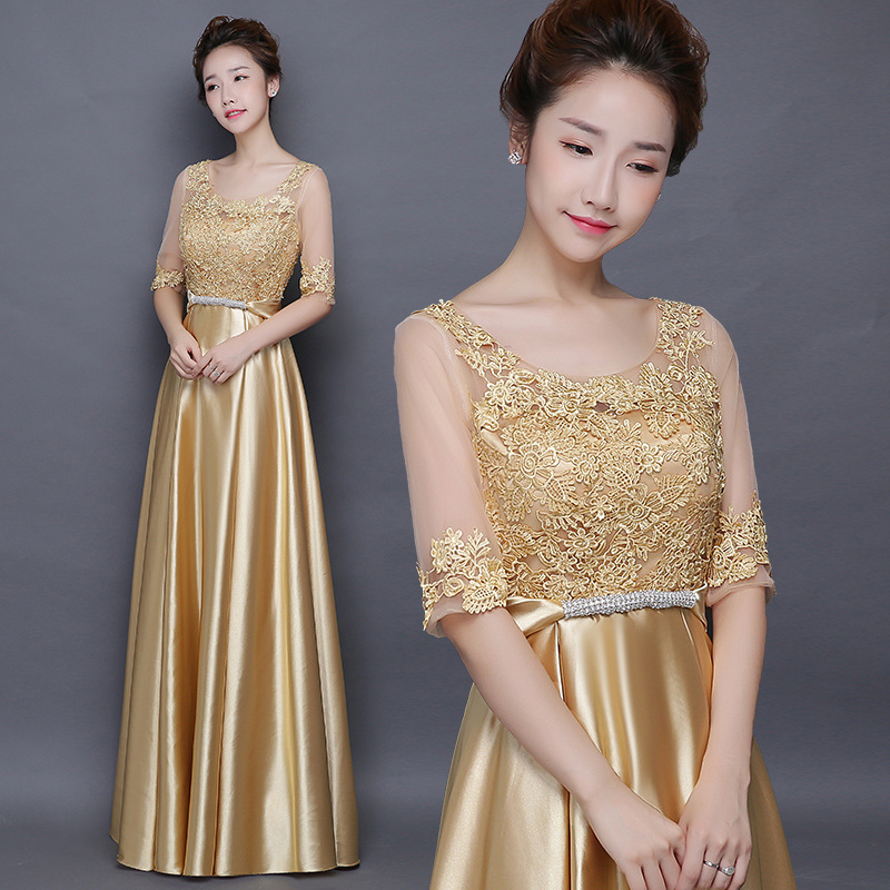 Chorus Costume Women Dress 2019 New Style Modern Elegant Adult Costume Slimming Gold Women's Evening Gown