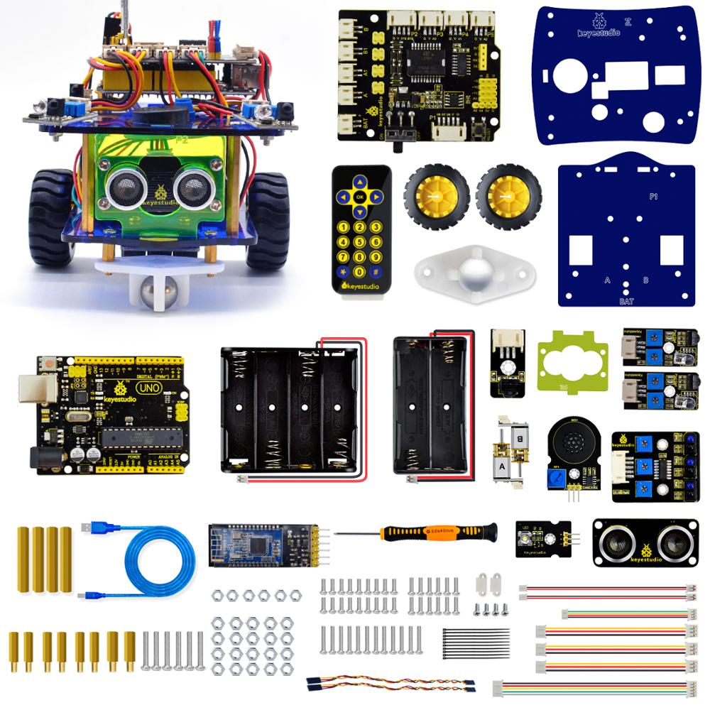 Keyestudio Desktop Mini Bluetooth Smart Robot Car Kit  V3.0 for Arduino Robot STEM/Support Mixly blocks coding-in Integrated Circuits from Electronic Components & Supplies