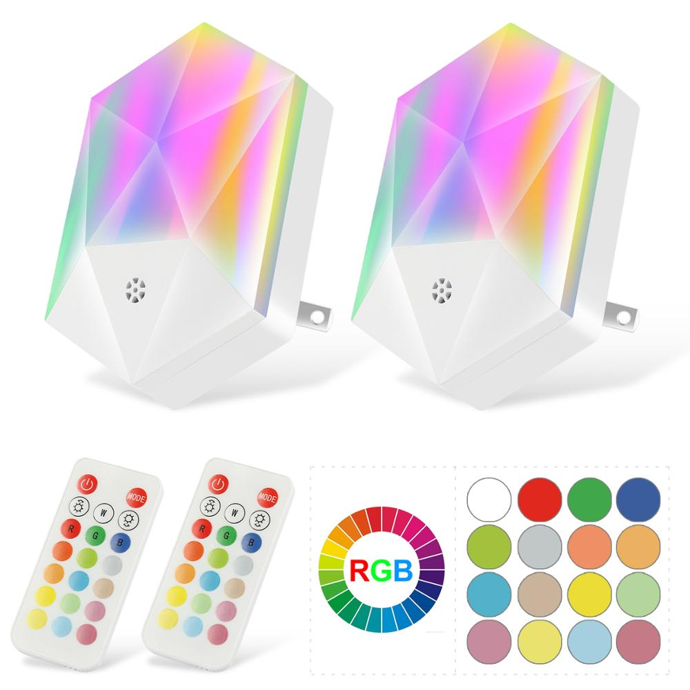 LED Night Light Plug in Remote RGB Color Changing Plug-into Wall Lights with 16 Colors Timer Light(2PACK)