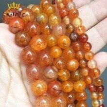 цена Natural Orange Red Fire Dragon Veins Agates Beads Round Loose Stone Beads For Making Jewelry DIY Bracelet Charms 15'' 6/8/10mm онлайн в 2017 году