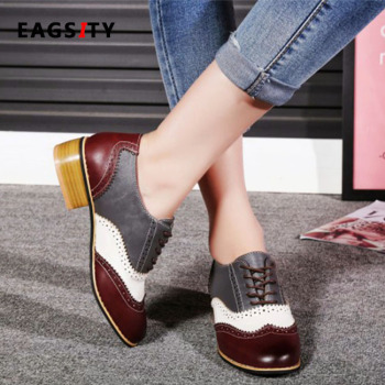 Eagsity Mixed Colors Vintage Oxford Shoes Women Flat Shoes Brogue Lace Up Pointed Toe Fashion Casual Ladies Derby Shoes Footwear Buy At The Price Of 22 74 In Aliexpress Com Imall Com