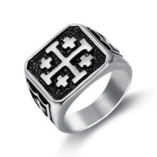 Мужское кольцо панк рок knights jerusalem crusader cross Мужской