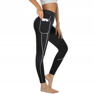 Image 1 - 2019 Women Sauna Weight Loss Slimming Pants Workout Neoprene Pants Side Pocket Heat Thermo Sweat Legging casual trousers clothes