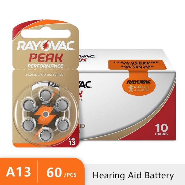60 قطعة جديد الزنك الهواء 1.45V Rayovac الذروة السمع بطاريات A13 13A 13 P13 PR48 بطارية سماعة للصم ل مساعدات للسمع